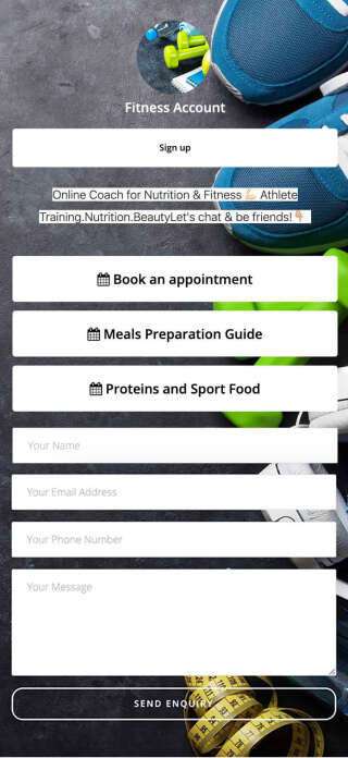Fitness coach page created with ContactInBio